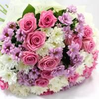 Сборный букет розы и хризантемы R342