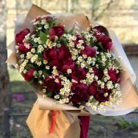 Сборный букет пионы и кустовые ромашки R1793