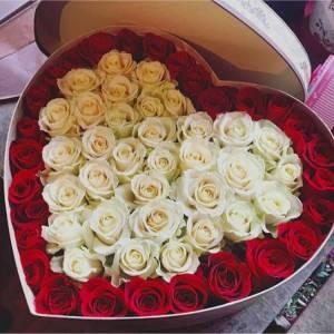 51 роза белая и красная в коробке сердце R844