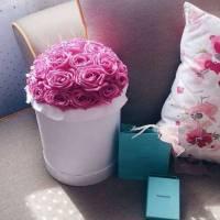 31 розовая роза в коробке R020