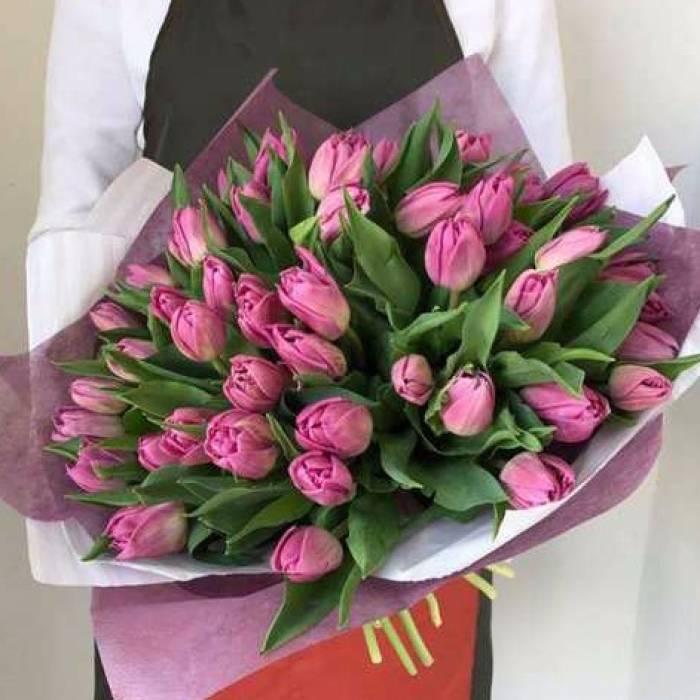 Букет 59 розовых тюльпанов R982