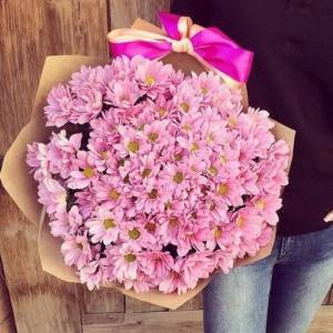 Розовая хризантема 19 веток R1126