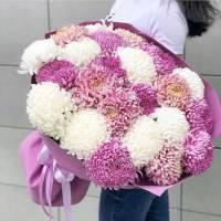 Букет 31 хризантемы микс с упаковкой R343