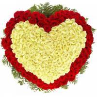 Сердце 301 красная и белая роза R100