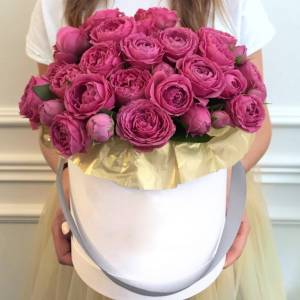 Коробка 31 кустовая розовая пионовидная роза R208
