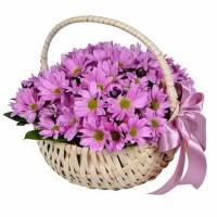 Корзина 9 веток розовой хризантемы R001
